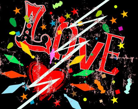 love hits like lightning, falling in love symbol, grunge style vector illustartion Ilustração