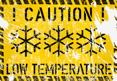 low temperature, frost, winter warning sign, grunge vector illustration, fictional artwork