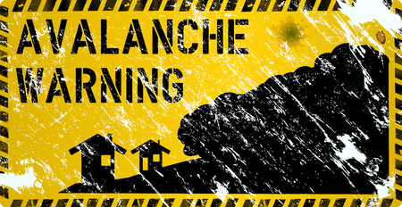 avalanche warning sign, grungy and weathered, vector eps 10