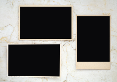 old empty photo frames, vintage photo prints, photographs with free space for pictures