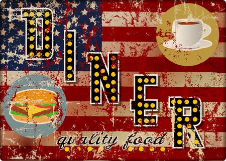 Vintage USA metal route 66 diner sign, retro grungy vector illustration