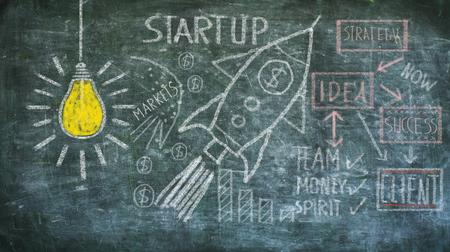 start up, idea, innovation, solution concept on black board, design template, large copy space