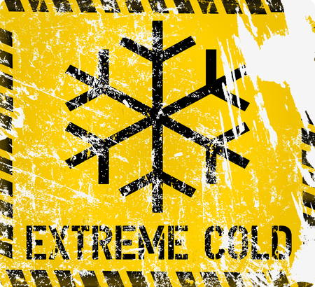 low temperature, extreme cold and frost warning sign, grunge vector illustration, fictional artwork Illustration