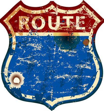 vintage battered blank route 66 road sign, retro grungy vector illustration