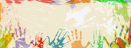 banner or design template with multicolored hand prints and paint splashes vector illustration