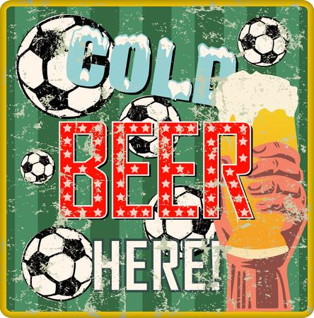 vvintage beer sign or sports bar  pub signage w. soccer balls, vector illustration, fictional art