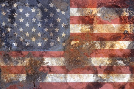 grungy american flag on rusty iron surface, fictional design