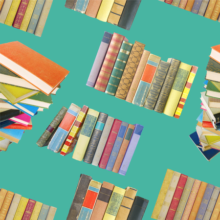 Seamless background or pattern with old books. Reading, learning, literature concept and design element.