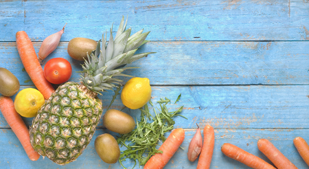 fruit and vegetables, healthy food, dieting, flat lay on rustic table, free copy space