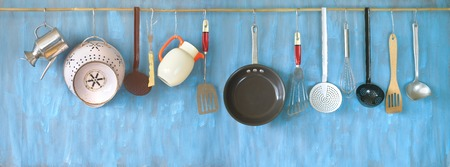 Kitchen utensils for commercial kitchen, restaurant,cooking, kitchen and food concept.  Stock Photo