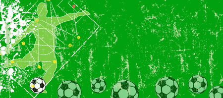 Soccer or football design template, banner or background, w. tactics diagram, soccer balls, grunge style