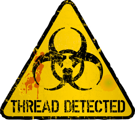 computer virus detection, thread warning sign, vector illustration