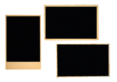 old empty photo frames, isolated photo prints, photographs with free space for pictures,
