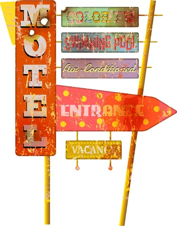 retro super grunge route Motel sign, vector,fictional artwork