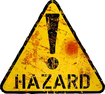 pericolo grungy, rischio, segnale di avvertimento di pericolo, illustrazione vettoriale