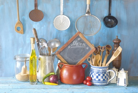 Cooking utensils and kitchen blackboard,food and drink,cooking,menu,restaurant concept. Archivio Fotografico