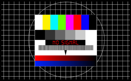 TV test pattern with caption no signal, offline, disturbance, error sign, concept,metaphor, vector Ilustração