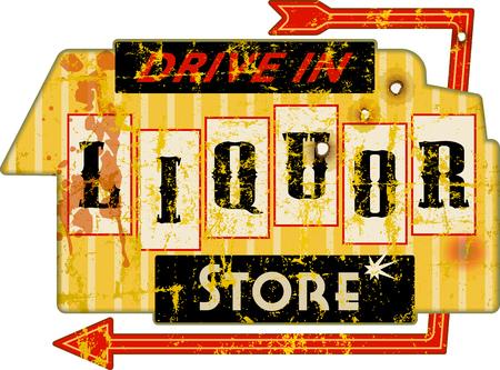 Vintage american super grunge liquor store sign, vector illustration Illustration