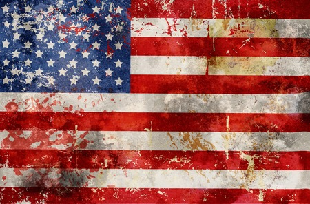 grungy USA flag, stars and stripes,