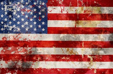 sucio bandera de Estados Unidos, estrellas y rayas,