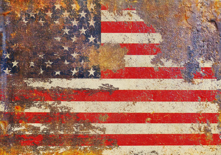 grungy USA flag, stars and stripes, distressed and rough