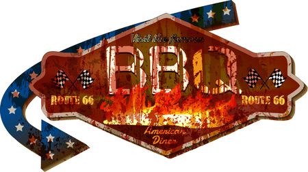 retro super grungy old Route 66 barbecue BBQ diner sign, vintage style vector Illustration
