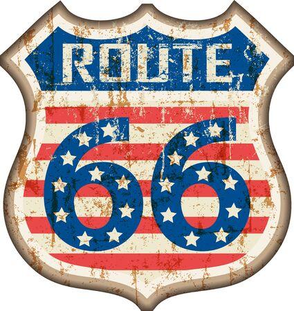 retro route 66 road sign, grungy style, vector illustration Ilustração