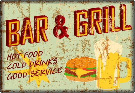 retro super grungy old bar and grill diner sign, american vintage style vector Illustration