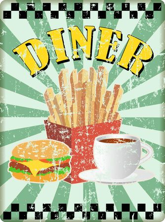 Retro fifties diner sign with french fries. burgers and cofee.Free copy space, vector. fictional artwork Ilustração