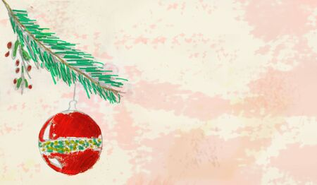 Christmas template background, hand drawn illustration with christmas ball and branch, free copy space Reklamní fotografie