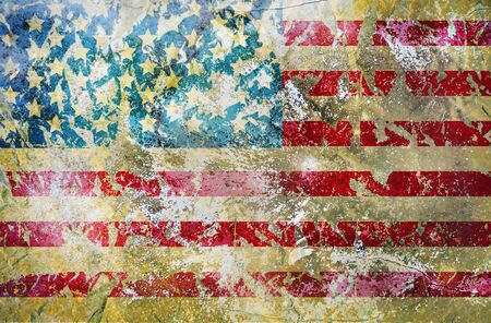 distressed grungy USA flag, stars and stripes, grunge background or design element