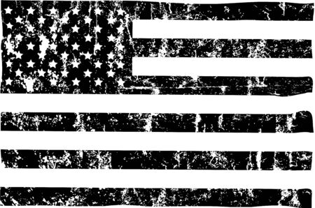 grungy american flag mockup,black and white, stars and stripes  イラスト・ベクター素材