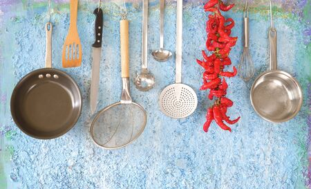 professional kitchen utensils for restaurant and spicy hot pepper, culinary,cooking,menu,mockup, free copy space