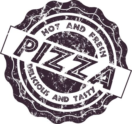Vintage retro style grungy pizza stamp, isolated vector illustration