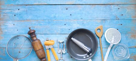 Kitchen utensils for commercial kitchen, Flat lay.