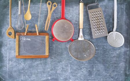Kitchen utensils for commercial kitchen and menu template, restaurant,cooking, culinary concept.