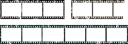 frames of film, grungy photo film frames,filmstrips with free copy space and markings, vector,fictional artwork
