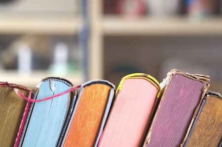 stack of multicolored books, reading, learning, education, literature, close up, copy space Zdjęcie Seryjne