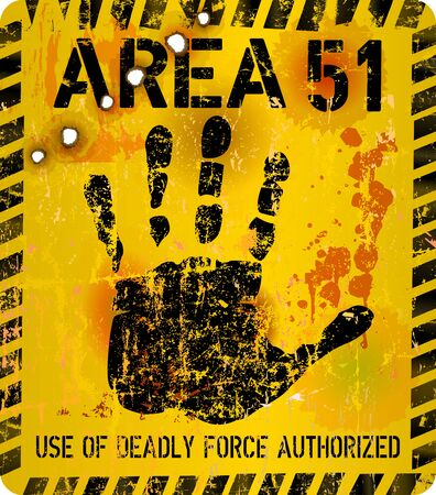 Area 51 sign. Grungy vector illustration