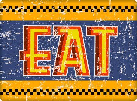 Retro american diner sign, eat sign vector illustration. Fictional artwork Ilustracja