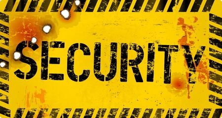 security sign, grungy style, vector illustration