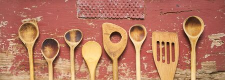 set of vintage wooden spoons,  kitchen utensils, cooking,food, culinary concept, flat lay with good copy space