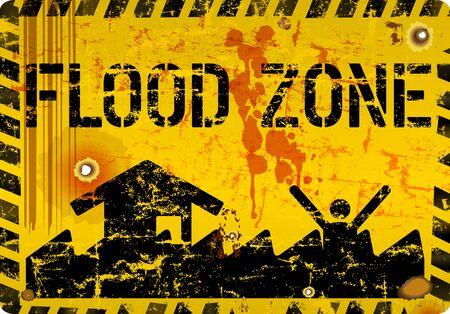 Warnschild für Überschwemmungszone, Klimawandel, Überschwemmung, Überschwemmungskonzept, Vektorillustration Vektorgrafik
