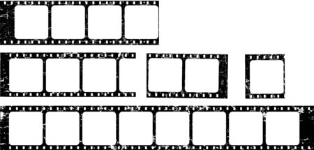 frames of film, grungy photo film frames,vintage retro,filmstrips with free copy space,vector,fictional artwork Ilustracja