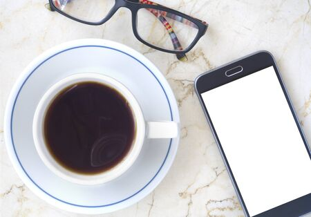 smartphone, cup of coffee and spectacles. Business,working,communication, social media mockup