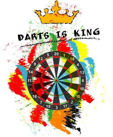 dart sport sign, symbol for the great darts event in 2020, free copy space, vector