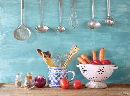 vegetables and kitchen utensils for commercial kitchen, food, cooking, kitchen concept.