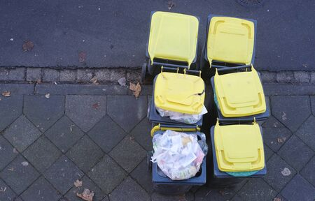 Garbage cans, dustbins with plastic waste. Recycling material for waste separation,environment protection concept Zdjęcie Seryjne