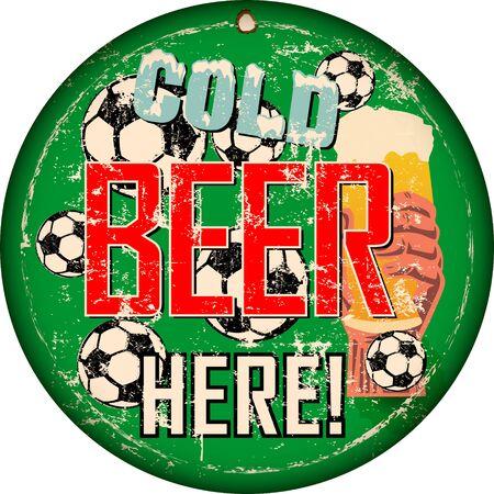 vintage beer sign or sports bar  pub signage w. soccer balls, vector illustration, fictional art Ilustracja