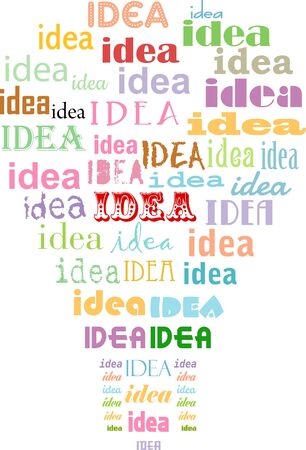 Idea and innovation concept with typographic lightbulb, vector illustration